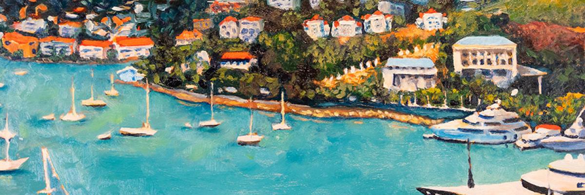 """Saint Thomas Harbor"", oil on panel, 12 x 12 inches"